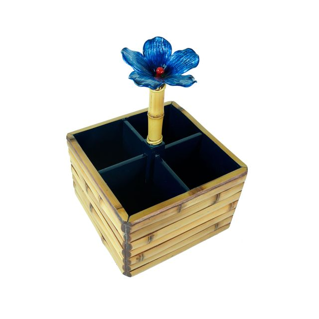 Porta-Talher-Bambu-Flor-Azul-
